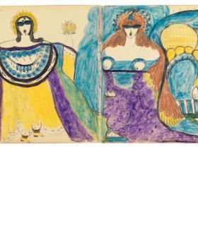 Aloïse. Cahier à la ronde de la cuiller et, ci-dessous, Cahier peinture et musique au théâtre. DR