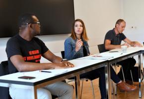 Komla Kpogli, Anaïs Timofte et Laurent Tettamenti en conférence de presse. VERISSIMO