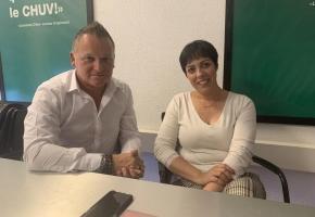 Nicola Di Giulio et Sandra Pernet, membres du comité de l'initiative. CA