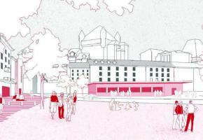 Le projet de Silvia Gonzalez Porqueres propose une place de la Riponne sans voitures et avec de nouveaux accès piétonniers avec des arbres ainsi que des espaces de jeu, des terrasses et diverses activités. DR