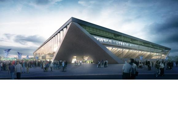 Malgré un budget qui plonge dans le rouge, le stade de foot de La Tuilière devrait être construit. DR/photomontage