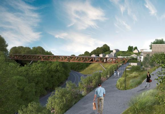 Le projet prévoit la construction d'une passerelle sur la route de Berne. DR/PHOTOMONTAGE
