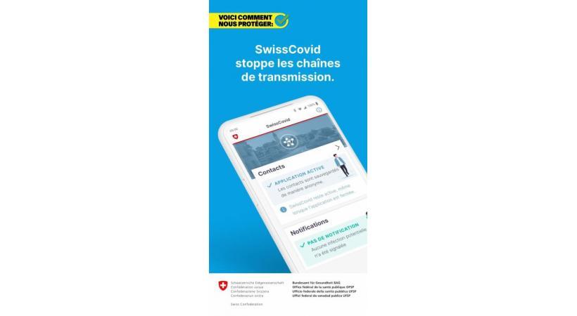 L'applicaiton SwissCovid téléchargeable sur l'Apple Store et Google Play Store. En médaillon, Isabelle Chevalley. DR